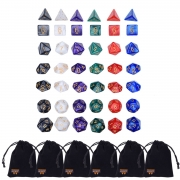 Willbond 42 Pieces Polyhedral Dice 6 Colors Game Dice Set with 6 Pack Pouches for Dungeons, Dragons and Other Dice Game