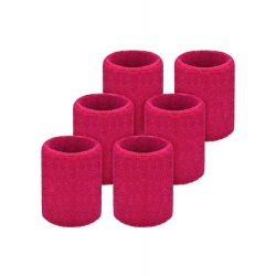 Willbond 6 Pack Sports Wristbands Absorbent Sweatbands for Football Basketball, Running Athletic Sports (Rose Red)