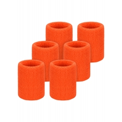 Willbond 6 Pack Wrist Sweatbands Sports Wristbands for Football Basketball, Running Athletic Sports (Orange)