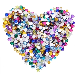 Willbond 600 Pieces 6 to 10 mm Acrylic Craft Jewels Flatback Rhinestones Heart Star Square Oval and Round Gems Gemstone Embellishments, Assorted Color