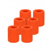 Willbond 6 Pack Wrist Sweatbands Sports Wristbands for Football Basketball, Running Athletic Sports (Orange)