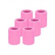Willbond 6 Pack Wrist Sweatbands Sports Wristbands for Football Basketball, Running Athletic Sports (Pink)