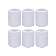 Willbond 6 Pack Wrist Sweatbands Sports Wristbands for Football Basketball, Running Athletic Sports (White)