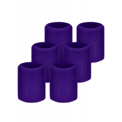 Willbond 6 Pack Sports Wristbands Absorbent Sweatbands for Football Basketball, Running Athletic Sports (Purple)