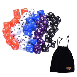 Willbond Polyhedral Dice 10 Sided with Black Bag, 5 Colors, 50 Pieces